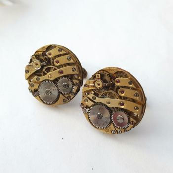 Watch movement cufflinks steampunk vintage brass mechanisms SC072