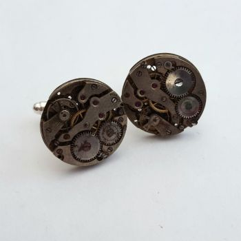 Watch movement cufflinks steampunk style vintage mechanisms SC073