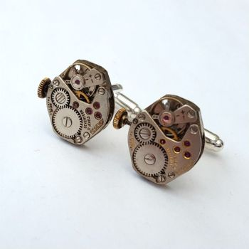 Watch movement cufflinks torch soldered steampunk vintage mechanisms SC074