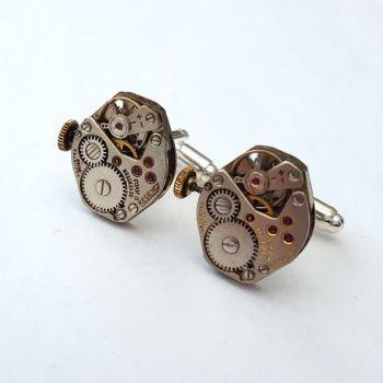 Watch movement cufflinks torch soldered steampunk vintage mechanisms SC074