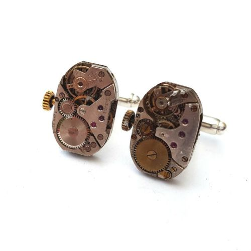 Steampunk watch movement cufflinks with torch soldered vintage mechanisms S
