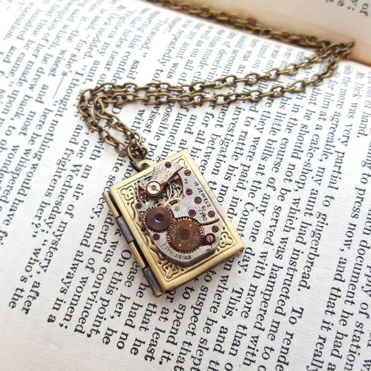 Steampunk watch movement & locket necklace SN127
