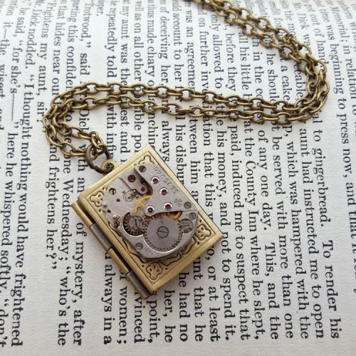 Watch movement and locket steampunk necklace SN129