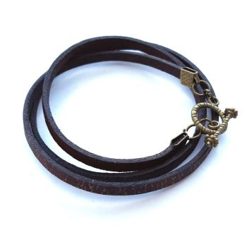 Leather wrap bracelet in antique brown MB007