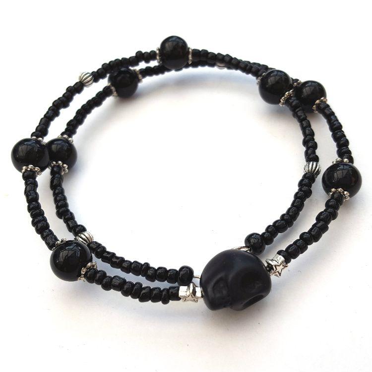 Black skull bead unisex coil bracelet CB003