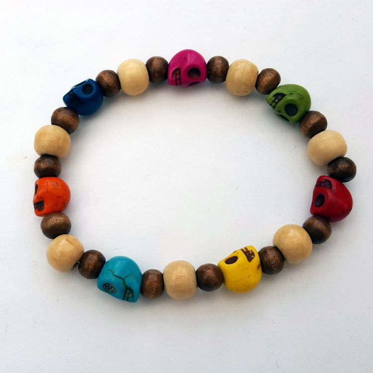 Day of the Dead skull bead stretch bracelet MB008