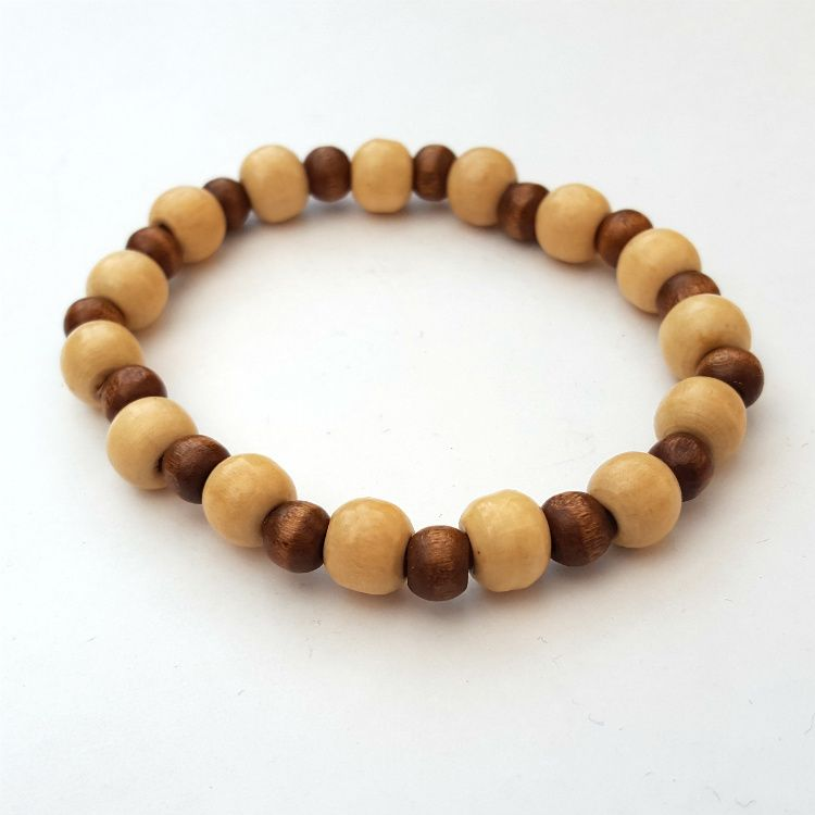 Wooden beads stretch bracelet mens unisex MB009