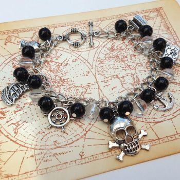 Pirate charm bracelet - black beads and silver charms PCB111