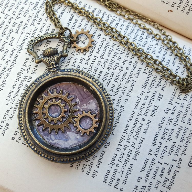 Steampunk pocket watch charm with cogs vintage style necklace SN133