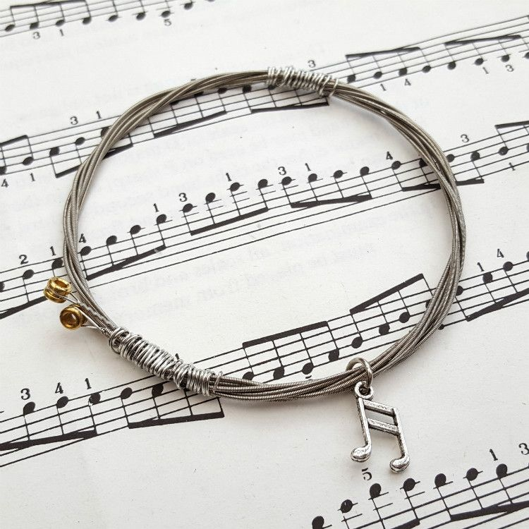 Guitar string bracelet with music note charm Size S GSB002