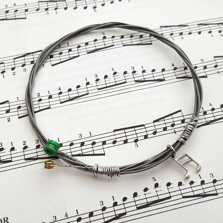 Guitar string bracelet with music note charm Size L GSB004