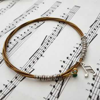 Guitar string bracelet with music note charm Size XL GSB005