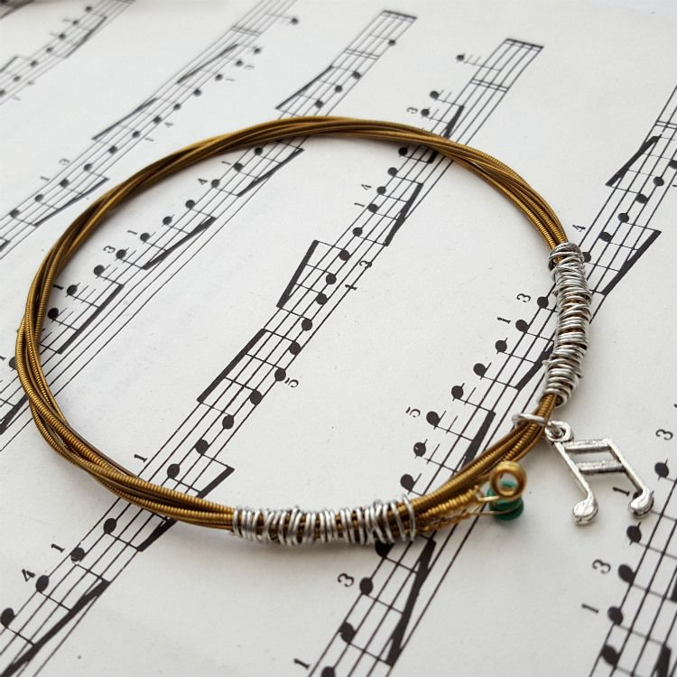 Guitar string bracelet with music note charm Size L GSB005