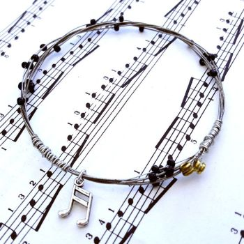Guitar string bracelet with music note charm Size XS GSB007