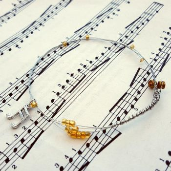 Guitar string bracelet with gold beads & music note charm Size S GSB008