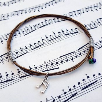 Guitar string bracelet with music note charm Size M GSB010