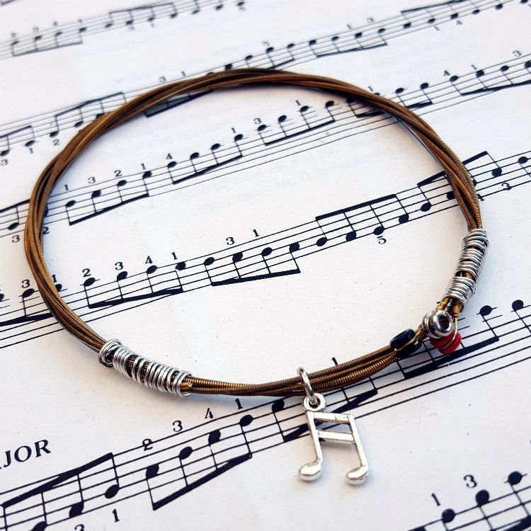Guitar string bracelet with music note charm Size M GSB011