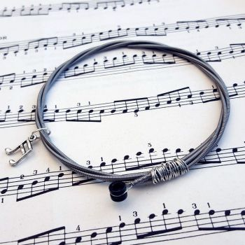 Bass guitar string bracelet with music note charm Size L GSB012