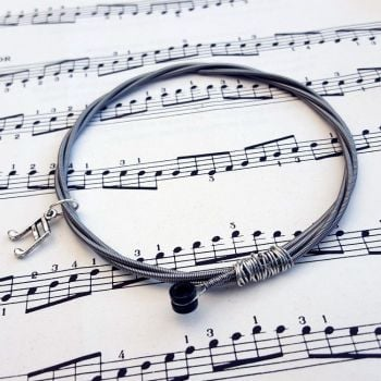 Bass guitar string bracelet with music note charm Size M GSB012