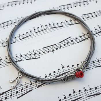 Bass guitar string bracelet with music note charm Size XL GSB013