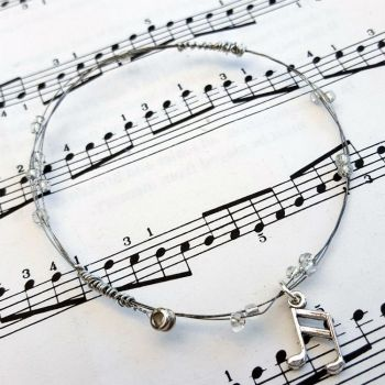 Guitar string bracelet with clear beads & music note charm Size XS GSB014
