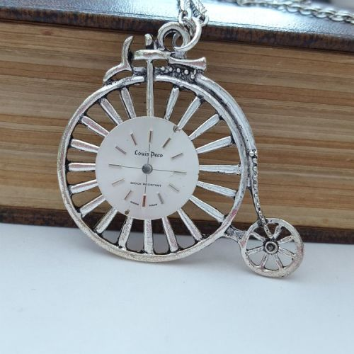 Steampunk vintage Penny Farthing & watch face necklace SN135