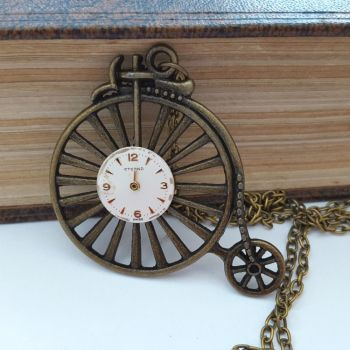 Steampunk vintage bronze Penny Farthing & watch face necklace SN136