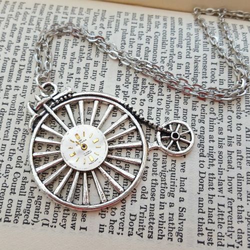 Steampunk vintage silver Penny Farthing & watch face necklace SN137