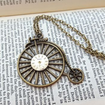 Steampunk vintage bronze Penny Farthing & watch face necklace SN138
