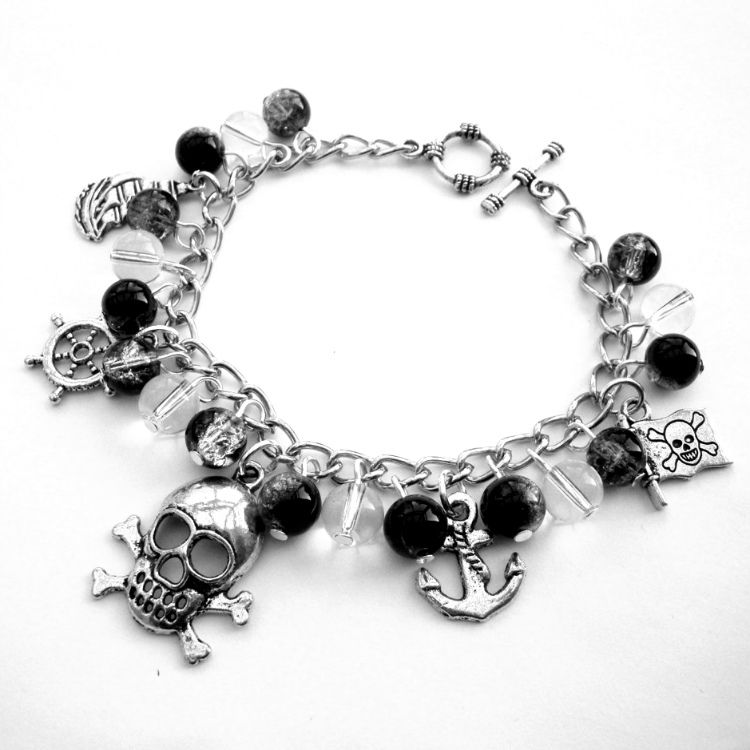 Pirate charm bracelet with black & clear beads and silver charms PCB112