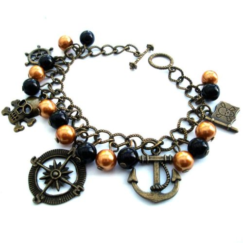 Pirate charm bracelet with black beads and bronze charms PCB114