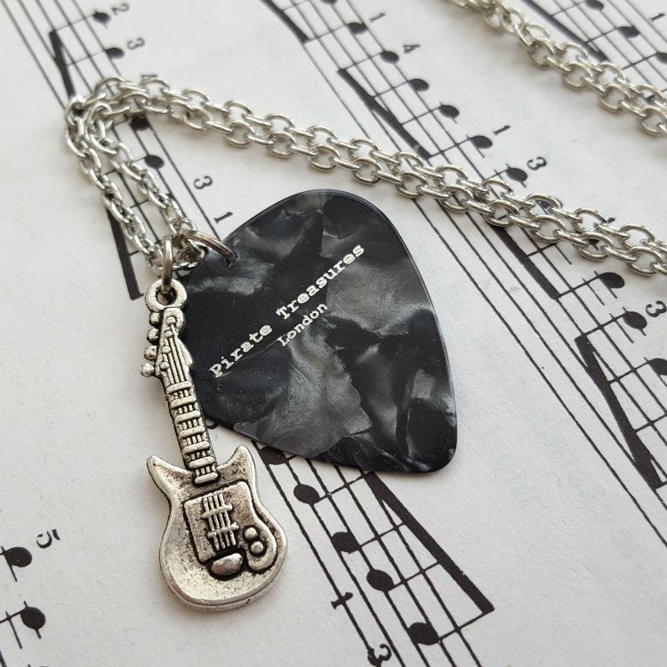 Plectrum & guitar charm necklace CN095