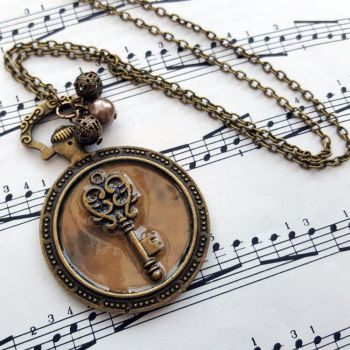 Steampunk pocket watch charm with key, vintage style necklace SN139