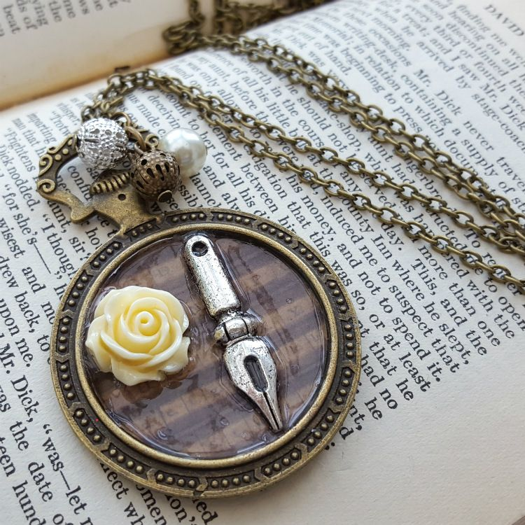 Steampunk pocket watch charm with pen nib and rose, vintage style necklace
