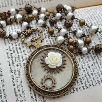 Steampunk necklace - pocket watch charm with cogs & rose on beaded chain SN141