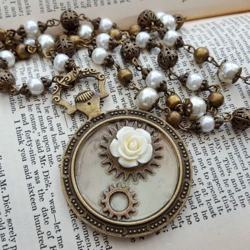 Steampunk necklace - pocket watch charm with cogs & rose on beaded chain SN