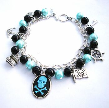 Pirate charm bracelet with cameo, blue and black beads PCB110