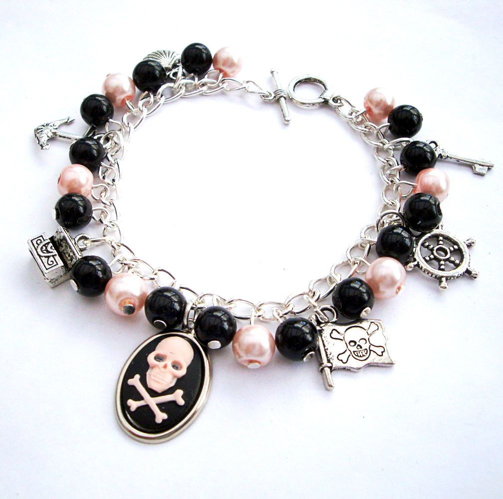 Pirate charm bracelet with cameo, pink and black beads PCB108