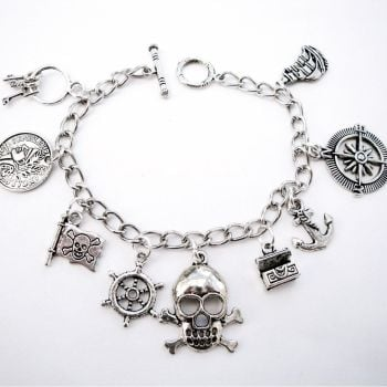 Pirate bracelet with silver charms PCB107