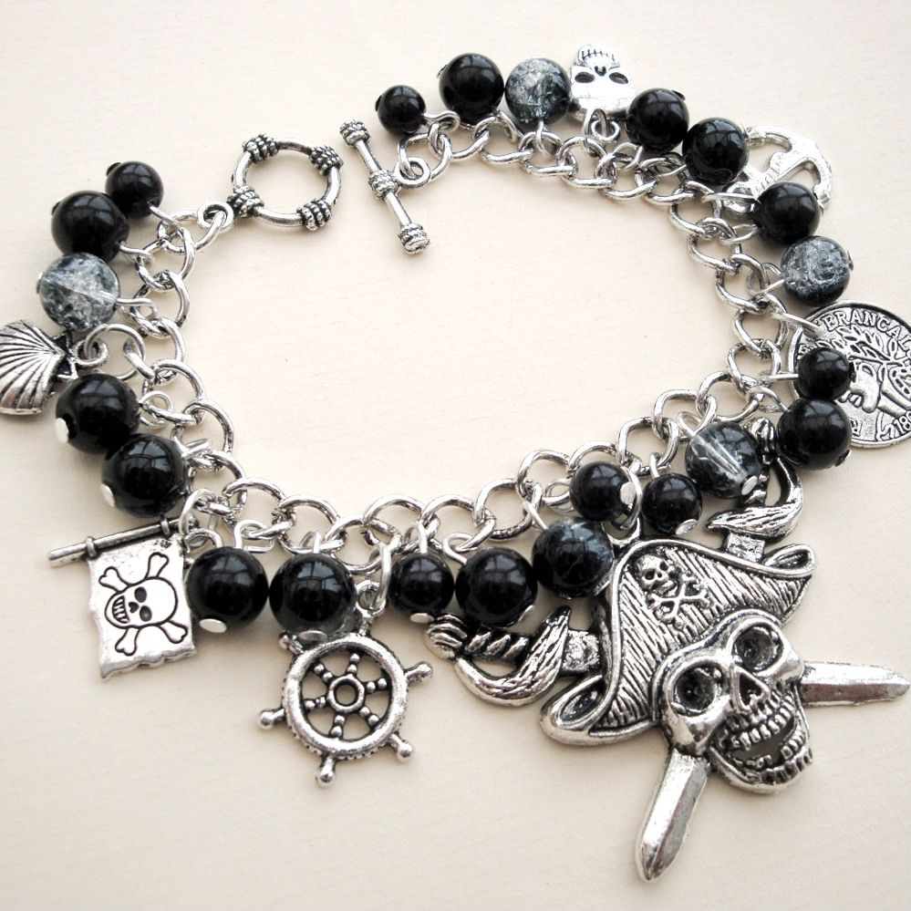 Pirate charm bracelet with black beads PCB104