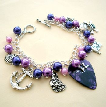 PCB095 Purple pirate plectrum charm bracelet