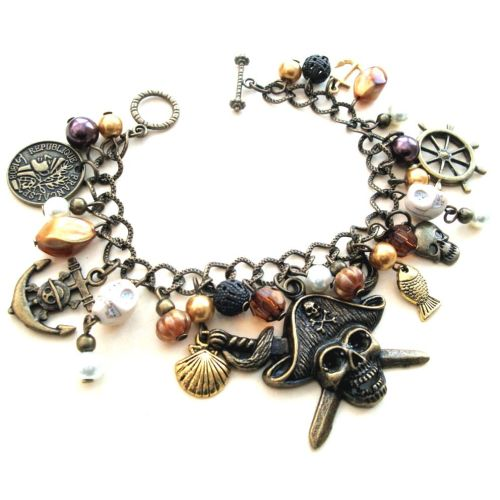 PCB101 Pirate charm bracelet with antique bronze beads