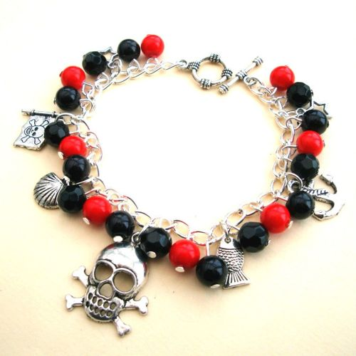 PCB075 Red & Black pirate charm bracelet