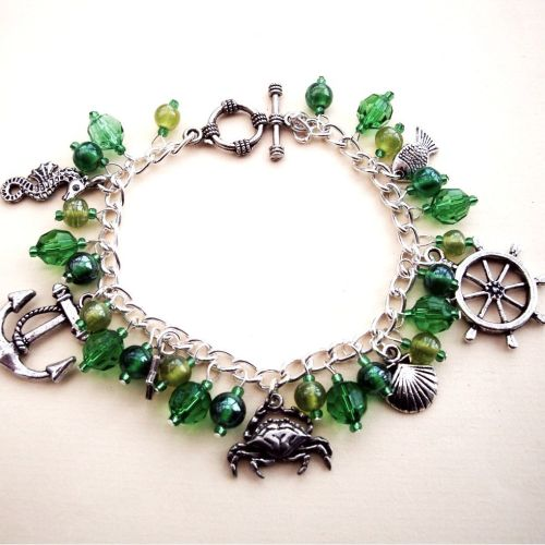PCB063 Green beads nautical pirate charm bracelet