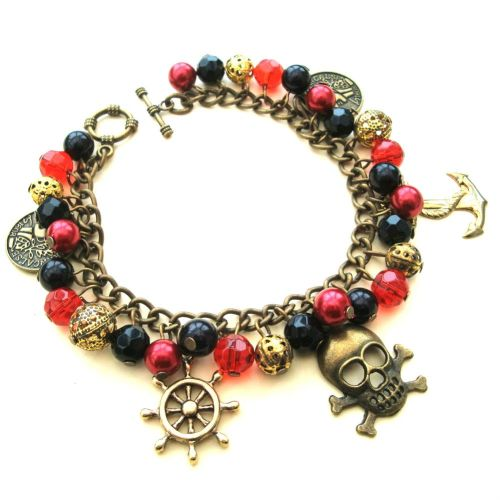 Pirate charm bracelet in red, black and gold PCB080