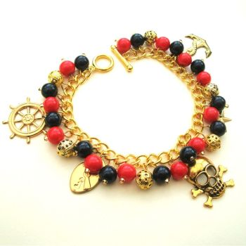 PCB079 Black, red & gold pirate charm bracelet