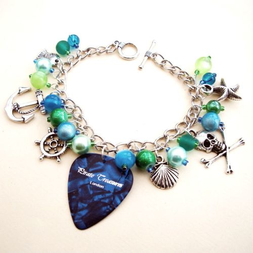 PCB056 Blue & green plectrum pirate charm bracelet