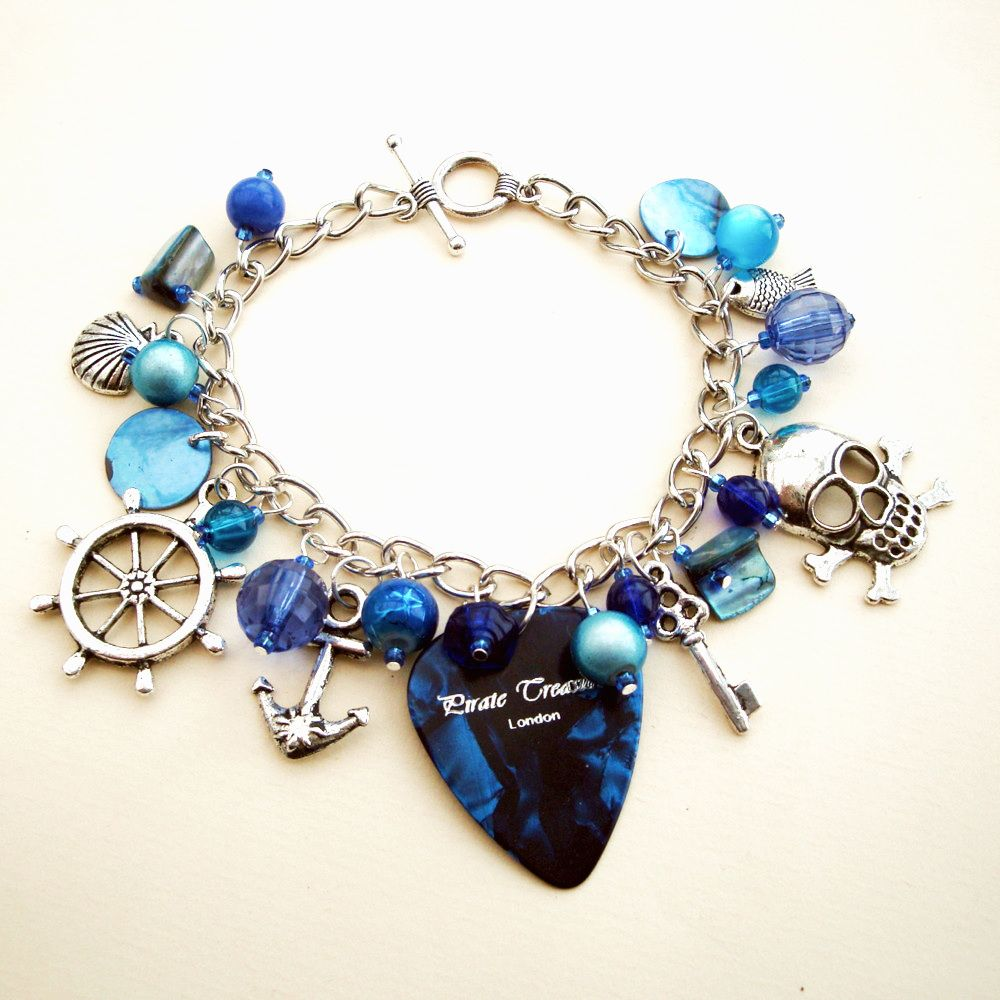 PCB053 Blue plectrum pirate charm bracelet