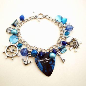 PCB053 Blue plectrum pirate charm bracelet