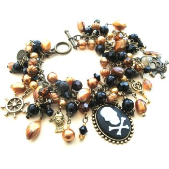 PCB069 Bronze pirate cameo charm bracelet